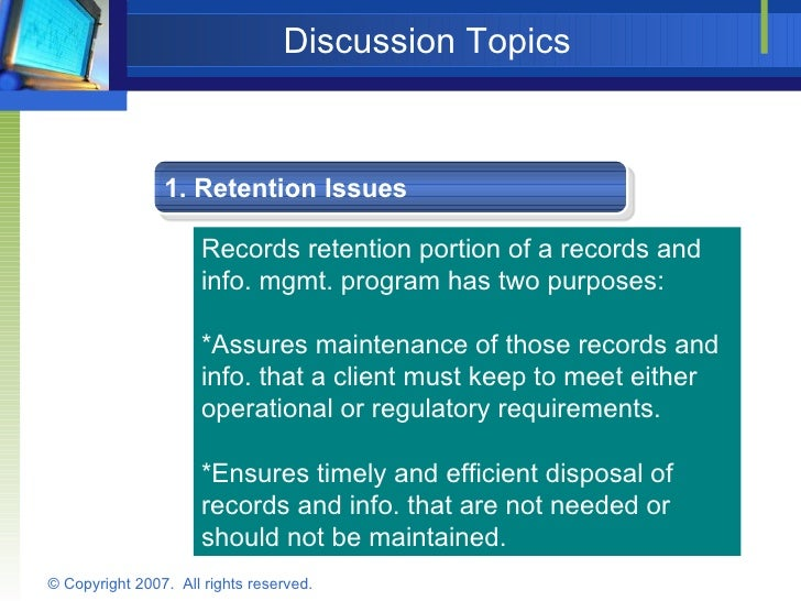 Designing A Compliant Record Retention Policy – Document Retention Policy