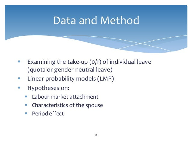 Examining the take-up (0/1) of individual leave (quota or gender-neutral leave)  Linear probability models (LMP)  Hypo...