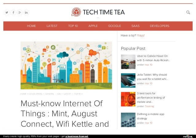 HOME » DEVELOPERS - GENERAL - IOS - LATEST - TOP 10 » Must-know Internet Of Things : Mint, August Connect, Wifi Kettle and...