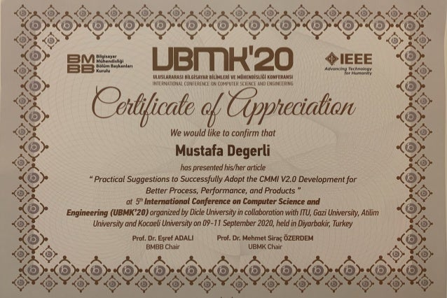 UBMK 2020 - International Conference on Computer Science and Engineering - Certificate of Appreciation 1