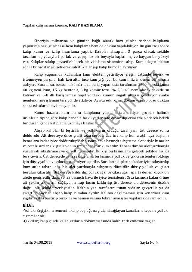 Makine Muhendisligi Staj Defteri Mustafa Vural