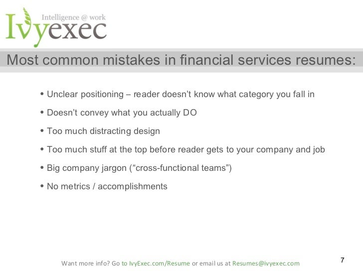 the must avoid mistakes in financial services resumes laura hill an