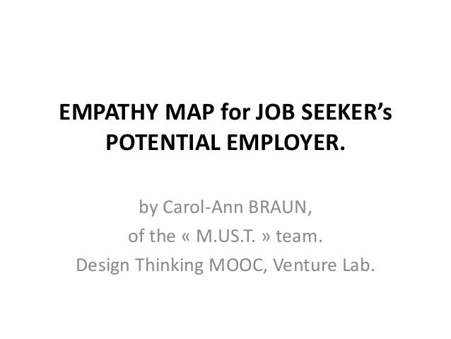 EMPATHY MAP for JOB SEEKER's POTENTIAL EMPLOYER. by Carol-Ann BRAUN, of the « M.US.T. » team. Design Thinking MOOC, Ventur...