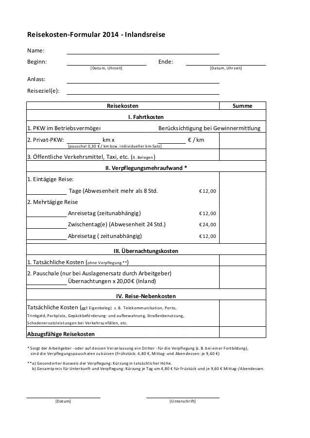 muster reisekosten 2014 - Muster Reisekostenabrechnung