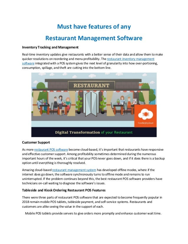 Must Have Features Of Any Restaurant Management Software