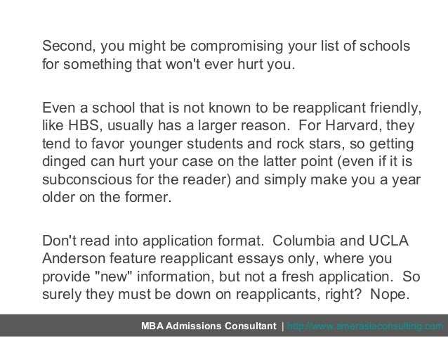 reapplicant essay This might be a pretty niche thread but is anyone else a reapplicant to ucla/anderson for 2010 i'd love to hear any of your thoughts .