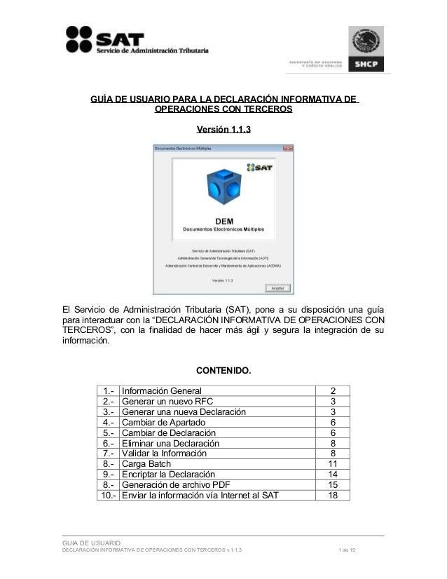 GUÍA DE USUARIO PARA LA DECLARACIÓN INFORMATIVA DE                     OPERACIONES CON TERCEROS                           ...