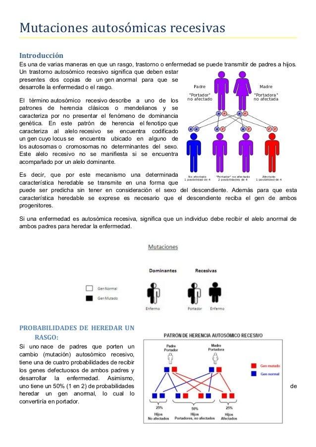 Mutaciones autosómicas recesivas Introducción Es una de varias maneras en que un rasgo, trastorno o enfermedad se puede tr...