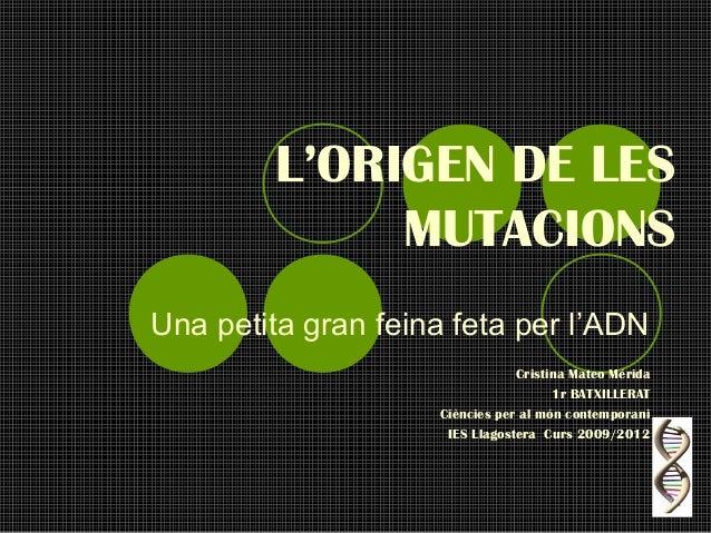 L'ORIGEN DE LES              MUTACIONSUna petita gran feina feta per l'ADN                                Cristina Mateo M...