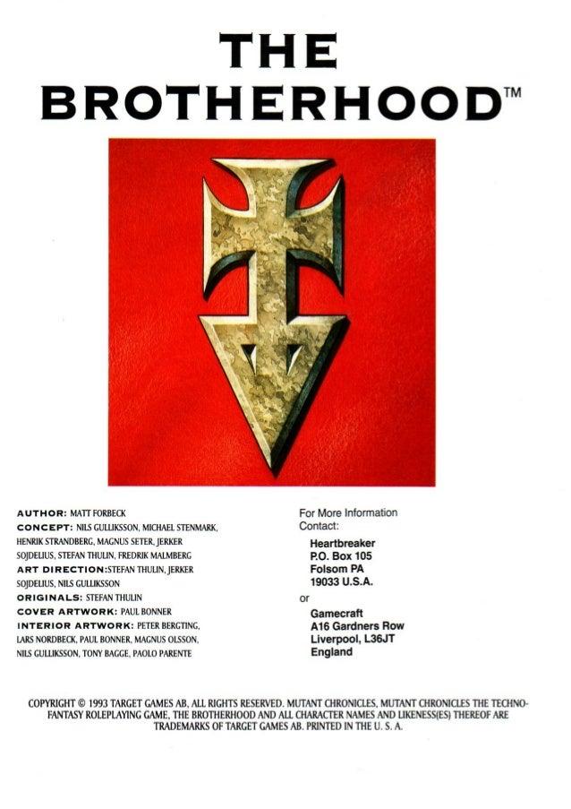 Mutant Chronicles RPG The Brotherhood Sourcebook