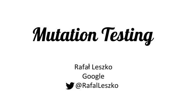 Mutation Testing ł