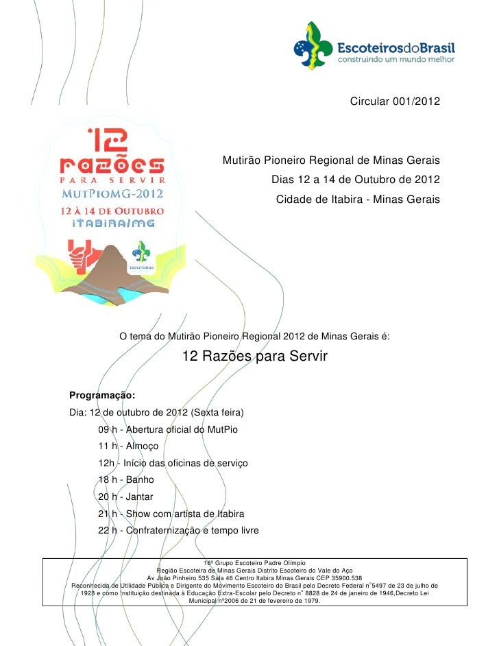 Circular 001/2012                                                  Mutirão Pioneiro Regional de Minas Gerais              ...