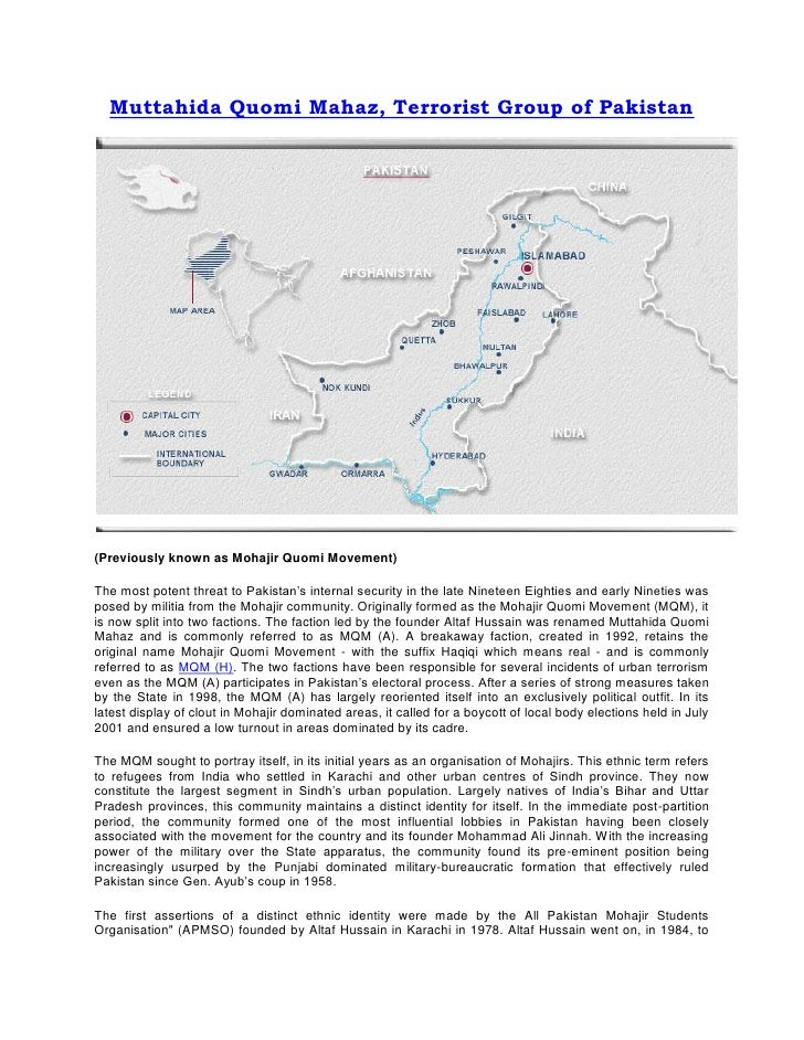 Muttahida Quomi Mahaz, Terrorist Group of Pakistan(Previously known as Mohajir Quomi Movement)The most potent threat to Pa...