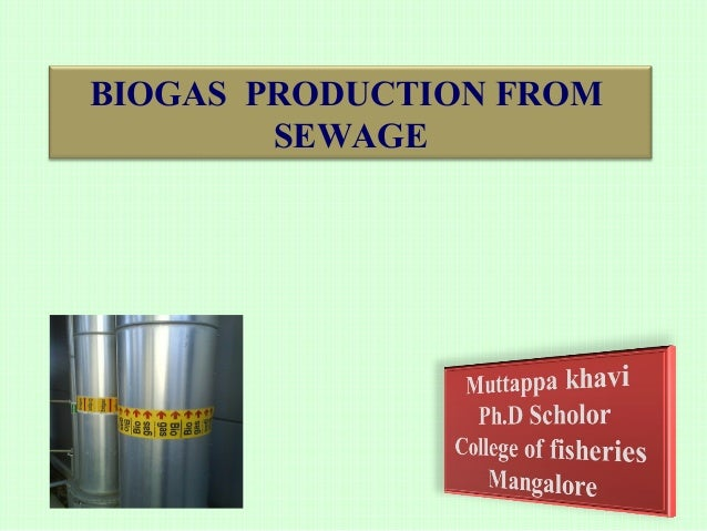 BIOGAS PRODUCTION FROM SEWAGE