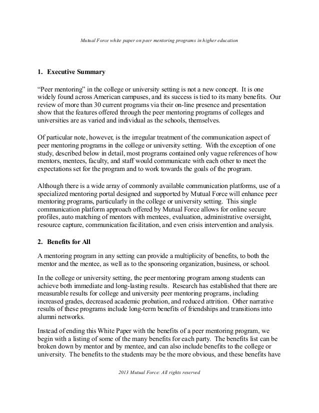 ... rights reserved; 2. Mutual Force white paper on peer mentoring ...