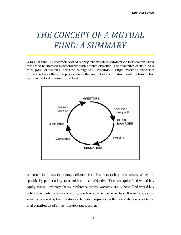 MUTUAL FUNDS THE CONCEPT OF A MUTUAL FUND: A SUMMARY A mutual fund is a common pool of money into which investors place th...