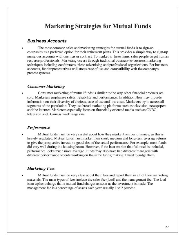 Dissertation report on mutual funds