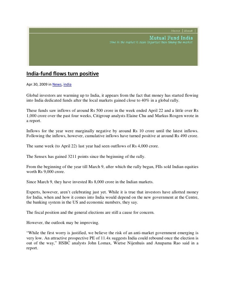 New Government Report Suggests 1 In 40 >> Mutual Fund India May 1 2009 India Fund Flows Turn Positive