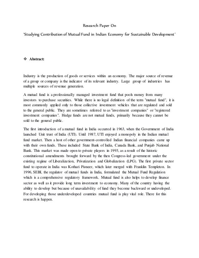 research paper on mutual fund