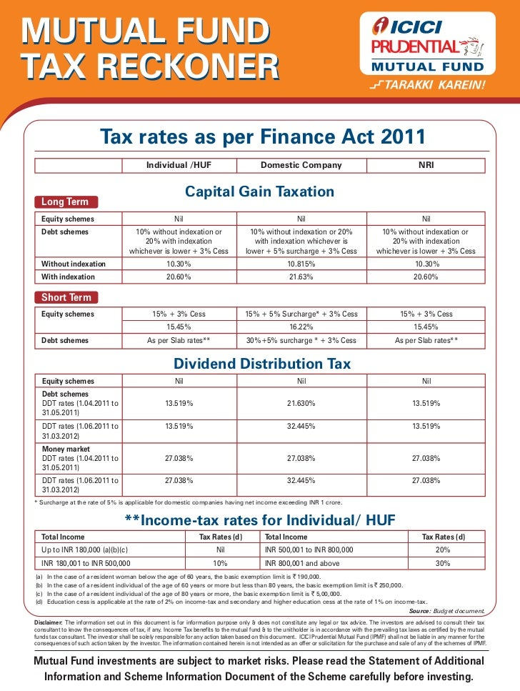 MUTUAL FUNDTAX RECKONER                          Tax rates as per Finance Act 2011                                        ...