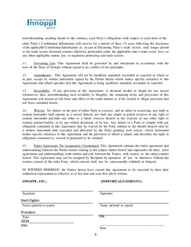 Mutual nda innoppl 2014 – Mutual Confidentiality Agreement