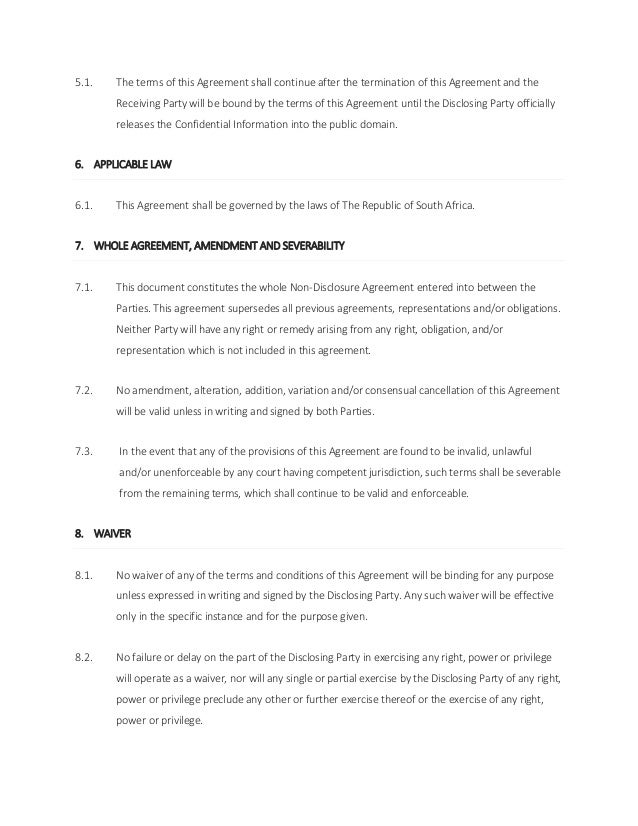 Mutual Non Disclosure Agreement South Africa