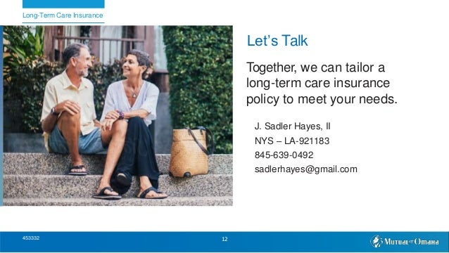 Let's Talk Together, we can tailor a long-term care insurance policy to meet your needs. J. Sadler Hayes, II NYS – LA-9211...