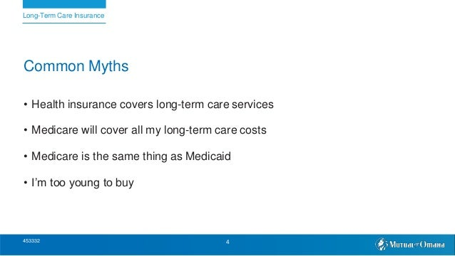 Common Myths • Health insurance covers long-term care services • Medicare will cover all my long-term care costs • Medicar...