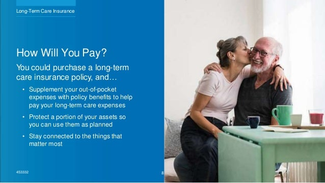 How Will You Pay? You could purchase a long-term care insurance policy, and… • Supplement your out-of-pocket expenses with...