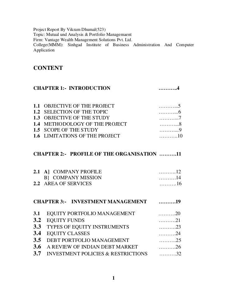 Project Report By Vikram Dhumal(523)Topic: Mutual und Analysis & Portfolio ManagemaentFirm: Vantage Wealth Management Solu...