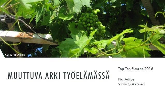 MUUTTUVA ARKI TYÖELÄMÄSSÄ Top Ten Futures 2016 Pia Adibe Virva Suikkanen Kuva: Pia Adibe