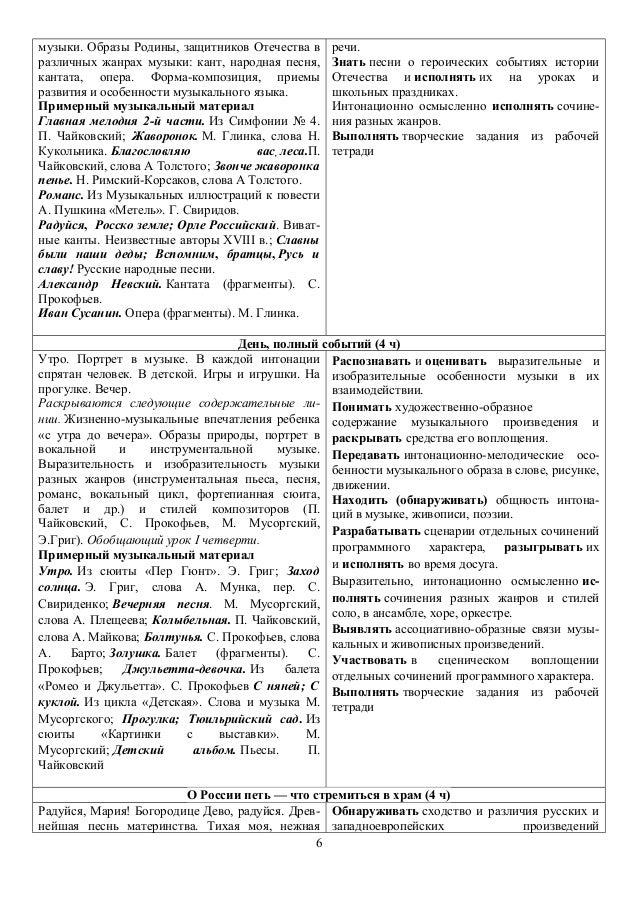 Календарно-тематическое планирование 2 класс музыка фгос сергеева критская