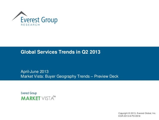 Global Services Trends in Q2 2013  April-June 2013 Market Vista: Buyer Geography Trends – Preview Deck  Copyright © 2013, ...