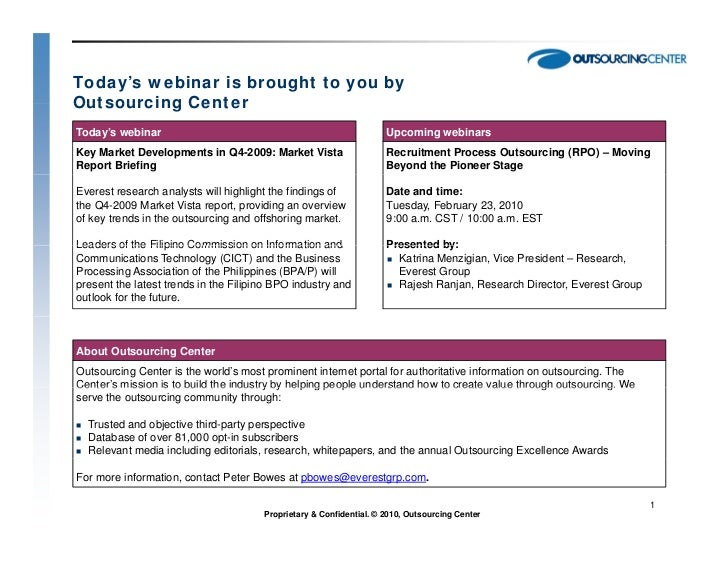 Today's webinar is brought to you byOutsourcing CenterToday's webinar                                                     ...