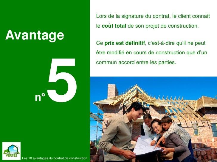 Les 10 avantages du contrat de construction de maisons for Cout de la construction maison individuelle