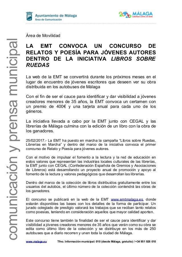 comunicaciónyprensamunicipal Área de Movilidad LA EMT CONVOCA UN CONCURSO DE RELATOS Y POESÍA PARA JÓVENES AUTORES DENTRO ...