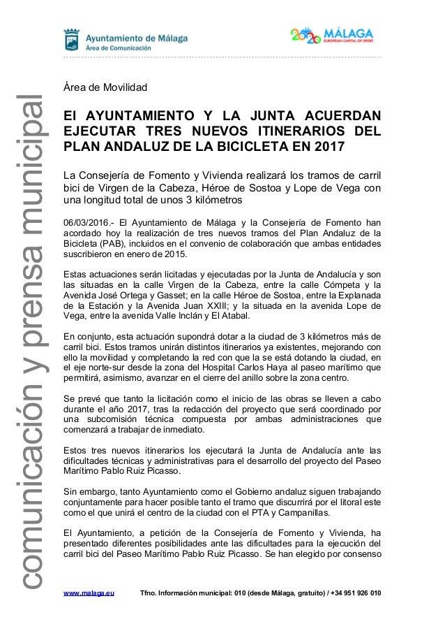 comunicaciónyprensamunicipal Área de Movilidad El AYUNTAMIENTO Y LA JUNTA ACUERDAN EJECUTAR TRES NUEVOS ITINERARIOS DEL PL...