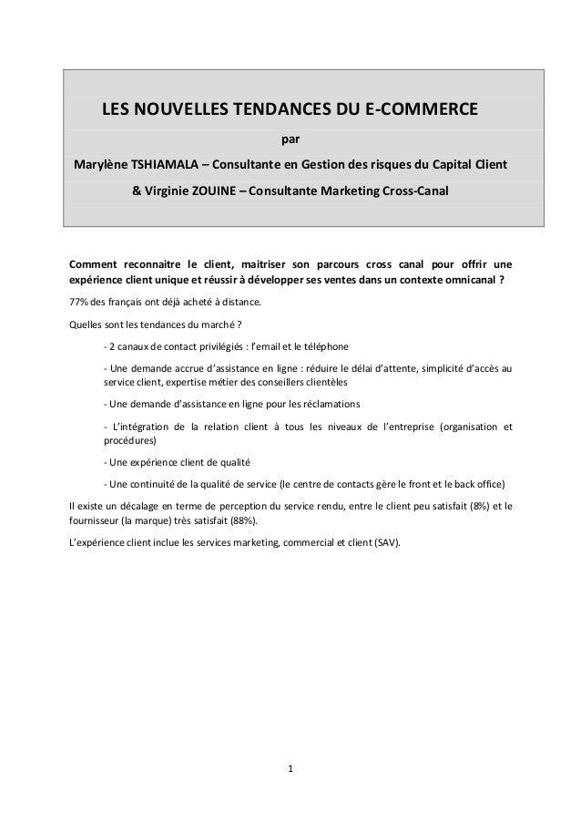 LES NOUVELLES TENDANCES DU E-COMMERCE par Marylène TSHIAMALA – Consultante en Gestion des risques du Capital Client & Virg...