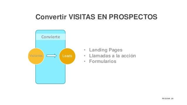 28P Á G I N A Convierte Visitantes Leads • Landing Pages • Llamadas a la acción • Formularios Convertir VISITAS EN PROSPEC...