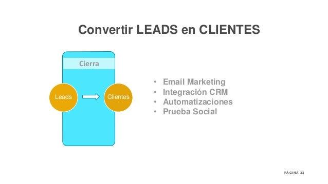 33P Á G I N A Cierra Leads Clientes Promotores • Email Marketing • Integración CRM • Automatizaciones • Prueba Social Conv...