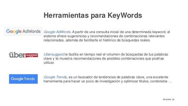 38P Á G I N A Herramientas para KeyWords Google AdWords. A partir de una consulta inicial de una determinada keyword, el s...