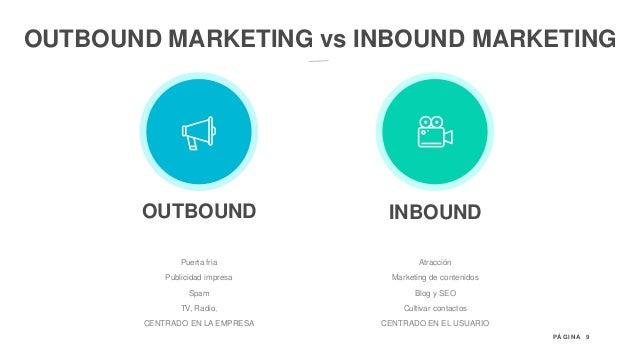9P Á G I N A OUTBOUND MARKETING vs INBOUND MARKETING INBOUNDOUTBOUND Atracción Marketing de contenidos Blog y SEO Cultivar...
