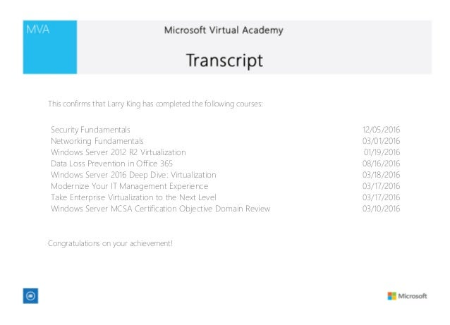 Microsoft Virtual Academy transcript