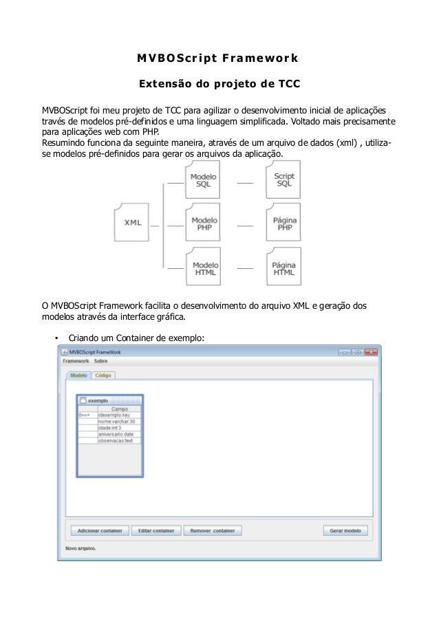 MVBOScript FrameworkExtensão do projeto de TCCMVBOScript foi meu projeto de TCC para agilizar o desenvolvimento inicial de...