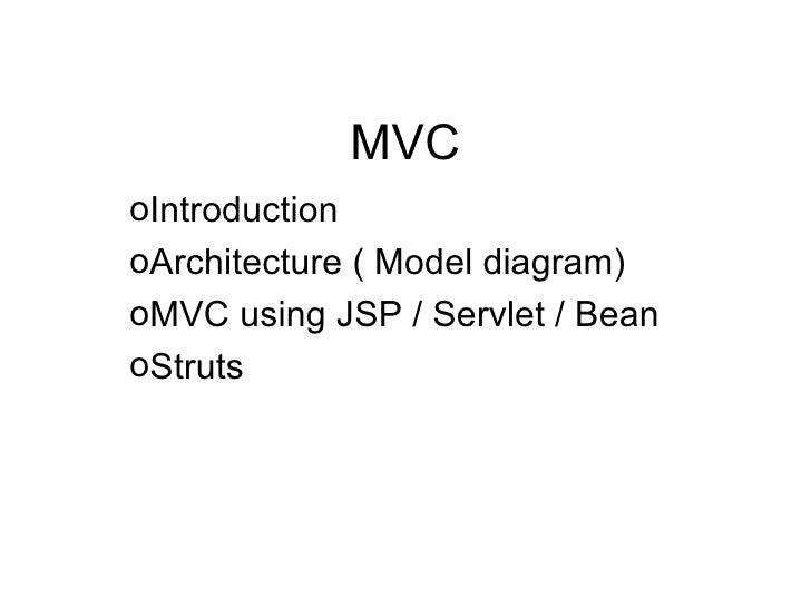 MVC <ul><li>Introduction </li></ul><ul><li>Architecture ( Model diagram) </li></ul><ul><li>MVC using JSP / Servlet / Bean ...