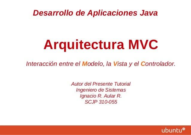 Desarrollo de Aplicaciones Java Arquitectura MVC Interacción entre el Modelo, la Vista y el Controlador. Autor del Present...