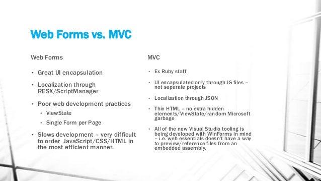 Microsoft ASP.NET Webforms vs. MVC