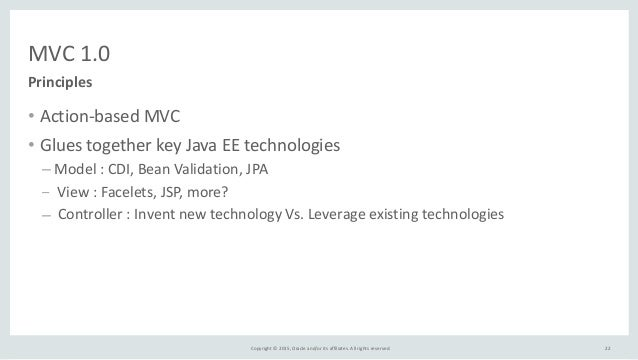 Copyright  ©  2015,  Oracle  and/or  its  affiliates.  All  rights  reserved.   MVC  1.0 • Action-‐...