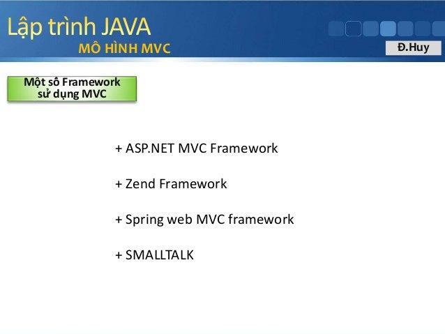 + ASP.NET MVC Framework + Zend Framework + Spring web MVC framework + SMALLTALK MÔ HÌNH MVC Một số Framework sử dụng ...