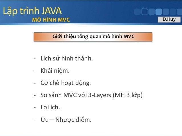 - Lịch sử hình thành. - Khái niệm. - Cơ chế hoạt động. - So sánh MVC với 3-Layers (MH 3 lớp) - Lợi ích. - Ưu – Như...